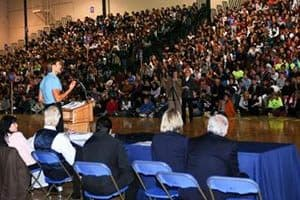Kids In Action John performs his motivating keynote presentation to a packed audience.