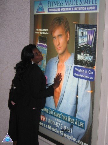 Carline showing some luv to an FMS poster at the Beverly Center in LA