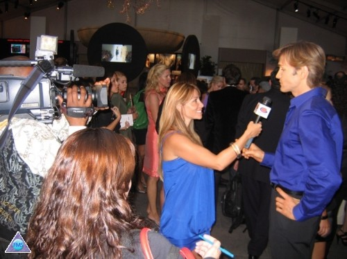 Being interviewed at Fashion Week in NY