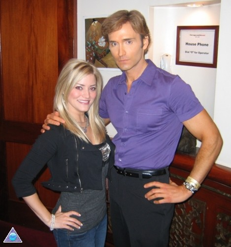 "With web celeb Justine Ezarik at a Twitter party in NYC. Am I doing ""blue steel"""